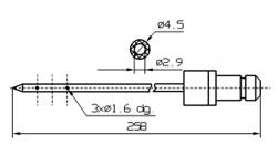 Одинарная игла для инъектора DORIT с круглым концом диаметр иглы 4,5 мм длина 258 мм