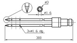 Двойная игла для инъектора DORIT с треугольным концом диаметр иглы 3 мм длина 300 мм