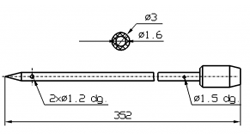 Инъекторная игла для SCHROEDER с конусным острием диаметр 3 мм длина 352 мм