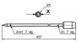 Иглы для инъектора SCHROEDER диаметр 4 мм длина 457 мм 2 отверстия 1,7 мм X = Ø 2,0 mm X = Ø 2,4 mm