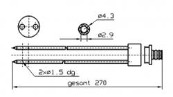 Иглы для инъектора INJECTSTAR Игла двойная с разборным штуцером диаметр 4 или 3 мм длина 270 мм