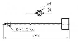 Марка инъектора INJECTSTAR диаметр 4 мм или 3 мм Игла без резьбовой втулки длина 253 мм X = Ø 2,0 mm X = Ø 2,4 mm