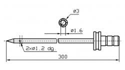 Инъекторная игла FOMACO коническая одинарная, диаметр 3 мм, длина 300 мм два двойных(сквозных) отверстия 1,2 мм
