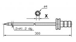Инъекторная игла FOMACO коническая одинарная, диаметр 4 мм, длина 300 мм два двойных(сквозных) отверстия 1,2 мм X = Ø 2,0 mm X = Ø 2,4 mm