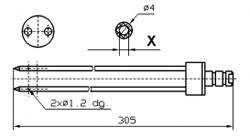 Иглы для инъектора FOMACO коническая двойная, диаметр 4 мм, длина 305 мм два двойных(сквозных) отверстия 1,2 мм X = Ø 2,0 mm X = Ø 2,4 mm