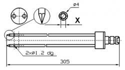 Инъекторная игла FOMACO треугольная двойная, диаметр 4 мм, длина 305 мм два двойных(сквозных) отверстия 1,2 мм X = Ø 2,0 mm X = Ø 2,4 mm