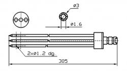 Иглы для инъектора FOMACO коническая тройная, диаметр 3 мм, длина 305 мм два двойных(сквозных) отверстия 1,2 мм