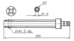 Инъекторная игла FOMACO коническая четверная, диаметр 3 мм, длина 305 мм два двойных(сквозных) отверстия 1,2 мм