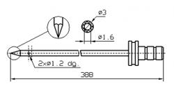 Инъекторная игла FOMACO треугольная одинарная, диаметр 3 мм, длина 388 мм два двойных(сквозных) отверстия 1,2 мм