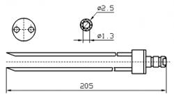 Инъекторная игла FOMACO скос двойная, диаметр 2.5 мм, длина 205 мм (инъекторные иглы для рыбы)