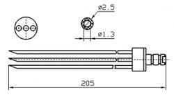 Инъекторная игла FOMACO скос тройная, диаметр 2.5 мм, длина 205 мм (инъекторные иглы для рыбы)