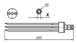 Инъекторная игла FOMACO скос тройная, диаметр 2 мм, длина 205 мм (инъекторные иглы для рыбы) X = ø 0,8 mm X = ø 1,0 mm
