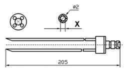 Инъекторная игла FOMACO скос четверная, диаметр 2 мм, длина 205 мм (инъекторные иглы для рыбы) X = ø 0,8 mm X = ø 1,0 mm
