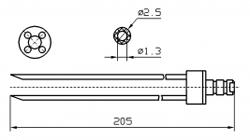 Инъекторная игла FOMACO скос четверная, диаметр 2.5 мм, длина 205 мм (инъекторные иглы для рыбы)
