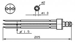 Инъекторная игла FOMACO скос тройная, диаметр переменный 1,5 - 2 мм, длина 205 мм (инъекторные иглы для рыбы)