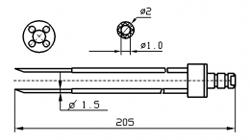 Инъекторная игла FOMACO скос четверная, диаметр переменный 1,5 - 2 мм, длина 205 мм (инъекторные иглы для рыбы)