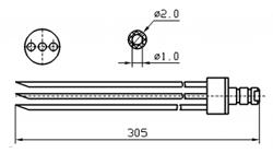 Инъекторная игла FOMACO скос тройная, диаметр 2 мм, длина 305 мм (инъекторные иглы для рыбы)