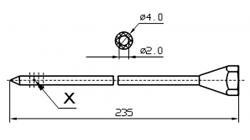 Инъекторная игла SUHNER Диаметр 4 мм, длина 235 мм Штуцер резьбовой X = 4 x 1,7 dg X = 3 x 1,7 dg