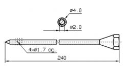 Инъекторная игла SUHNER Диаметр 4 мм, длина 240 мм Штуцер резьбовой