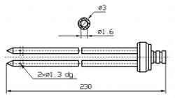 Инъекторная игла SUHNER двойная Диаметр 3 мм, длина 230 мм Штуцер быстросъемный разборный