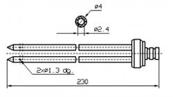 Инъекторная игла SUHNER двойная Диаметр 4 мм, длина 230 мм Штуцер быстросъемный разборный