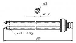 Инъекторная игла SUHNER двойная Диаметр 3 мм, длина 300 мм Штуцер быстросъемный разборный
