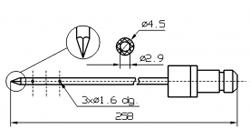 Одинарные иглы для инъектора DORIT с треугольным концом диаметр иглы 4,5 мм длина 258 мм