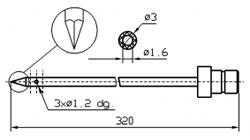 Игла применяется в инъекторах марки GUENTHER треугольный конец Диаметр иглы 3 мм Длина иглы 320 мм