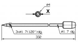 Инъекторная игла для SCHROEDER диаметр 4 мм длина 332 мм Внутренний диаметр X = Ø 2,0 mm Внутренний диаметр X = Ø 2,4 mm