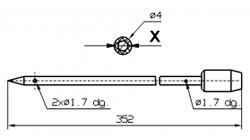 Иглы для инъектора SCHROEDER диаметр 4 мм длина 352 мм 2 отверстия 1,2 мм X = Ø 2,0 mm X = Ø 2,4 mm