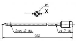 Инъекторная игла для SCHROEDER диаметр 4 мм длина 352 мм 2 отверстия 1,7 мм X = Ø 2,0 mm X = Ø 2,4 mm