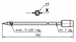 Инъекторная игла для SCHROEDER диаметр 4 мм длина 352 мм 4 отверстия 1,7 мм X = Ø 2,0 mm X = Ø 2,4 mm