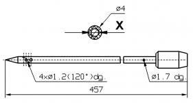 Инъекторная игла для SCHROEDER диаметр 4 мм длина 4577 мм 4 отверстия 1,2 мм X = Ø 2,0 mm X = Ø 2,4 mm