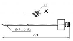 Иглы для инъектора INJECTSTAR Игла одинарная с резьбовой втулкой диаметр 4 мм длина 271 мм X = Ø 2,0 mm X = Ø 2,4 mm