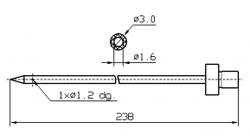Иглы для инъектора FOMACO коническая одинарная, диаметр 3 мм, длина 238 мм одно двойное(сквозное) отверстие 1,2 мм