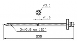 Инъекторная игла FOMACO коническая одинарная, диаметр 3 мм, длина 238 мм три двойных (сквозных) отверстия 0,8 мм