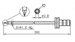 Инъекторная игла FOMACO треугольный конец одинарная, диаметр 5 мм, длина 300 мм два двойных(сквозных) отверстия 1,2 мм