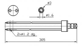 Инъекторная игла FOMACO коническая двойная, диаметр 3 мм, длина 305 мм два двойных(сквозных) отверстия 1,2 мм