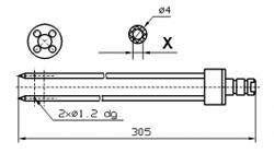 Инъекторная игла FOMACO коническая четверная, диаметр 4 мм, длина 305 мм два двойных(сквозных) отверстия 1,2 мм X = Ø 2,0 mm X = Ø 2,4 mm