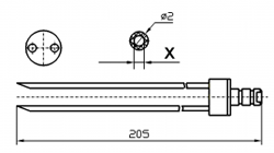 Инъекторная игла FOMACO скос двойная, диаметр 2 мм, длина 205 мм (инъекторные иглы для рыбы) X = ø 0,8 mm X = ø 1,0 mm