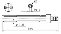 Инъекторная игла FOMACO скос двойная, диаметр переменный 1,5 - 2 мм, длина 205 мм (инъекторные иглы для рыбы)