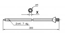 Инъекторная игла SUHNER Диаметр 4 мм, длина 300 мм Штуцер быстросъемный X = ø 2,0 mm X = ø 2,4 mm