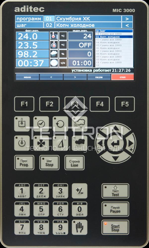 """Программируемый контроллер управления MIC 3000, с сенсорным TFT-экраном 7"""" для термокамер и климатических установок для варки и копчения от завода Техтрон"""