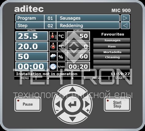 """Программируемый контроллер управления MIC 900 с сенсорным TFT-экраном 7"""" для термокамер и климатических установок для варки, копчения, созревания от завода Техтрон"""