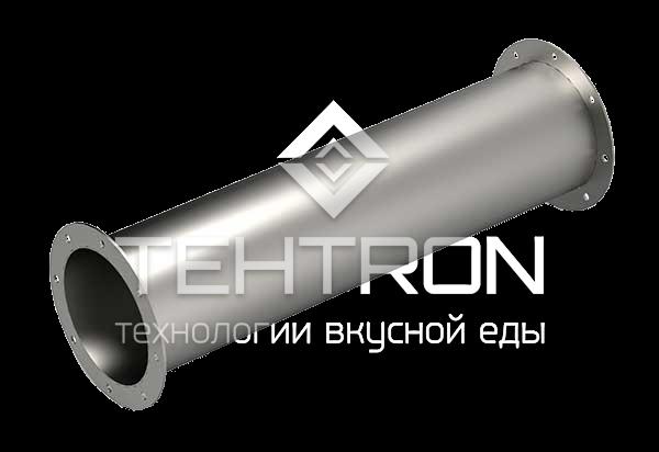 Труба дымоходная из нержавеющей стали с двумя фланцами для дымоходов термокамер Tehtron и их аналогов. Продажа оборудования для термокамер от завода-изготовителя